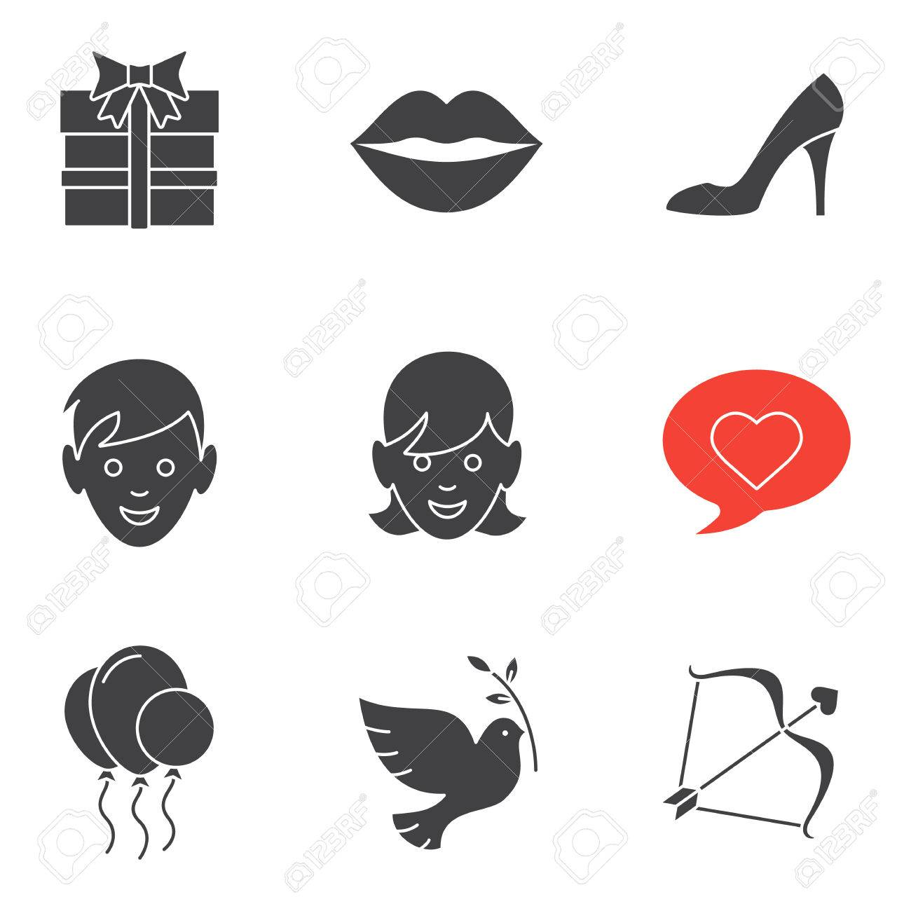 Valentine S Day Icons Set February 14 Silhouette Symbols Gift