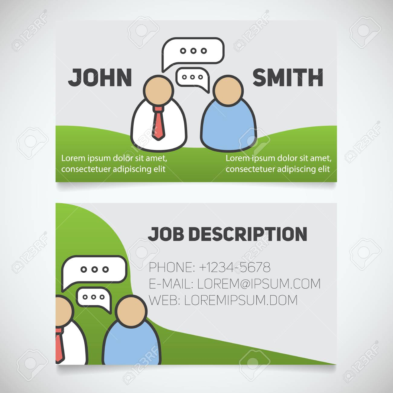 Business Card Print Template With Interview Logo Easy Edit
