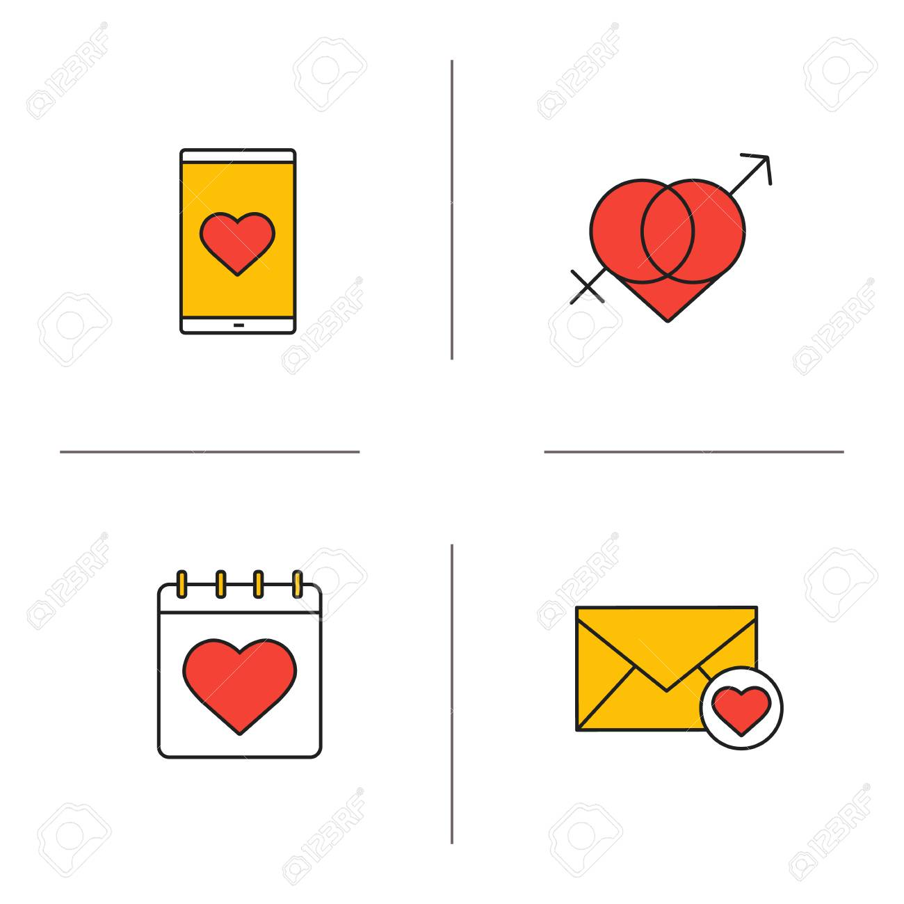 Valentines day color icons set february 14 calendar smartphone valentines day color icons set february 14 calendar smartphone dating app love letter buycottarizona Gallery