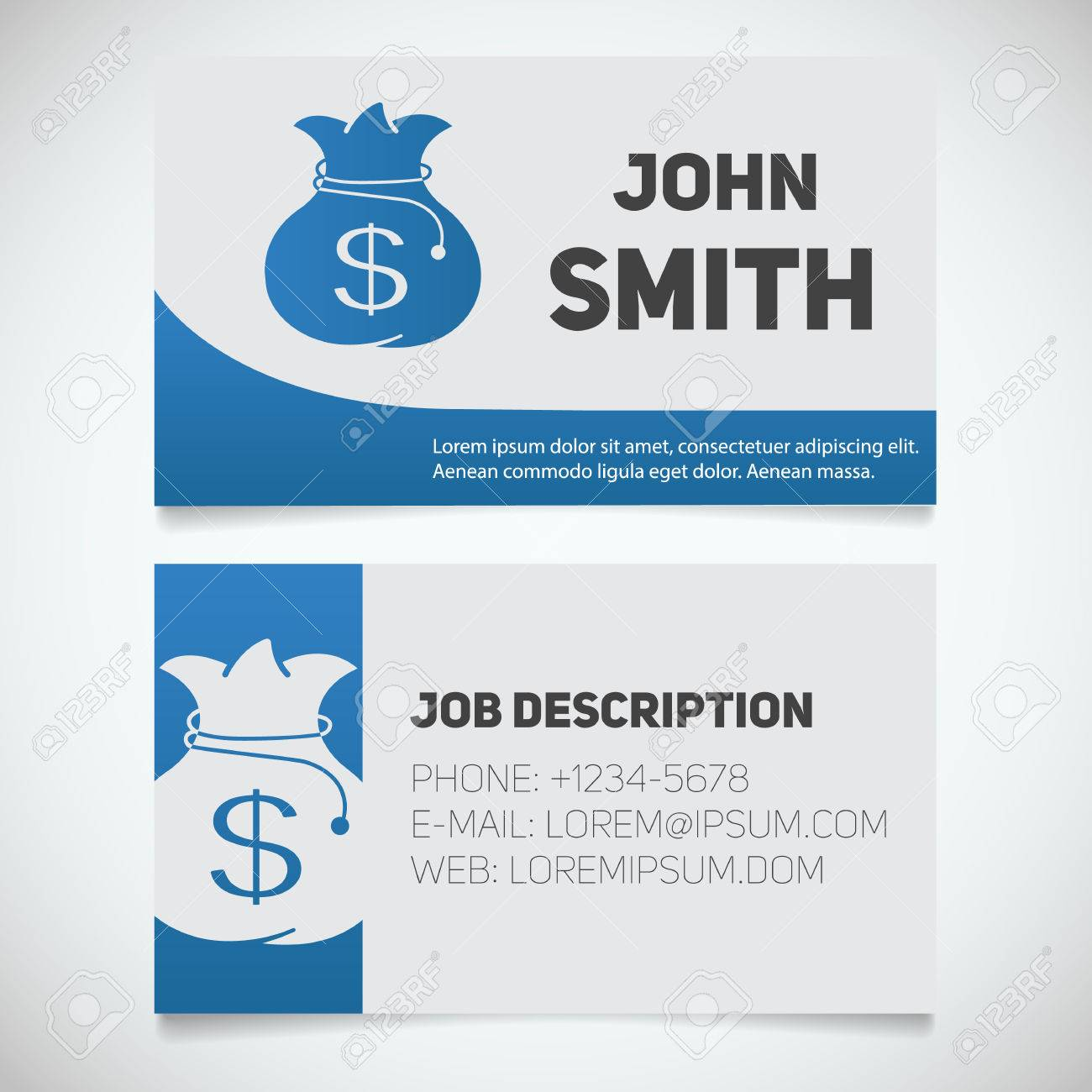 Business Card Print Template With Bank Money Bag Logo. Easy Edit ...
