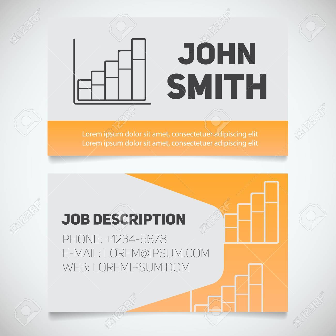 Business Card Print Template With Income Growth Chart Logo Easy Edit Marketer Stockbroker