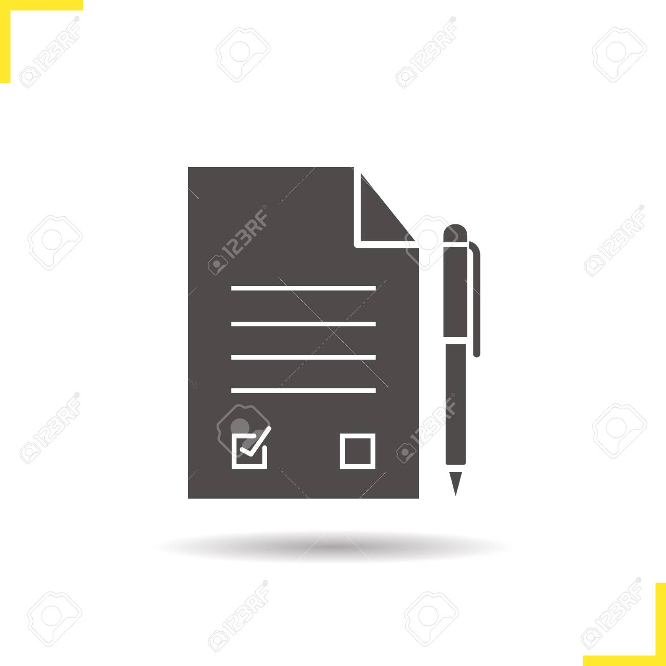 Signed contract with pen icon drop shadow agreement silhouette signed contract with pen icon drop shadow agreement silhouette symbol application form negative biocorpaavc Choice Image