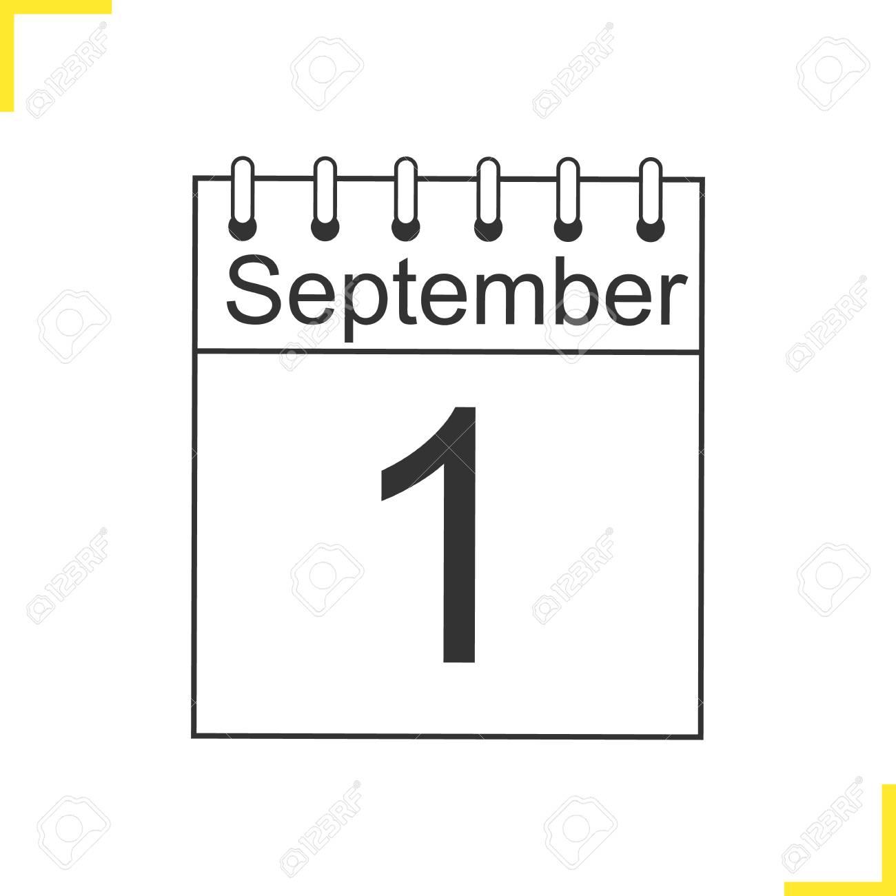 Calendario Dibujo Septiembre.1 De Septiembre Icono Lineal Ilustracion De Linea Delgada De Calendario Dia Del Conocimiento Simbolo De Contorno Dibujo De Contorno Aislado Del