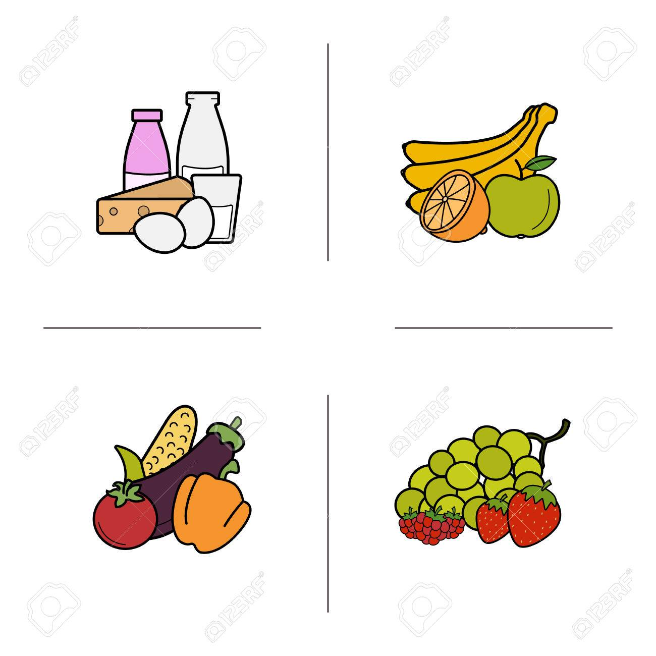 grocery store products categories color icons set fruit vegetables