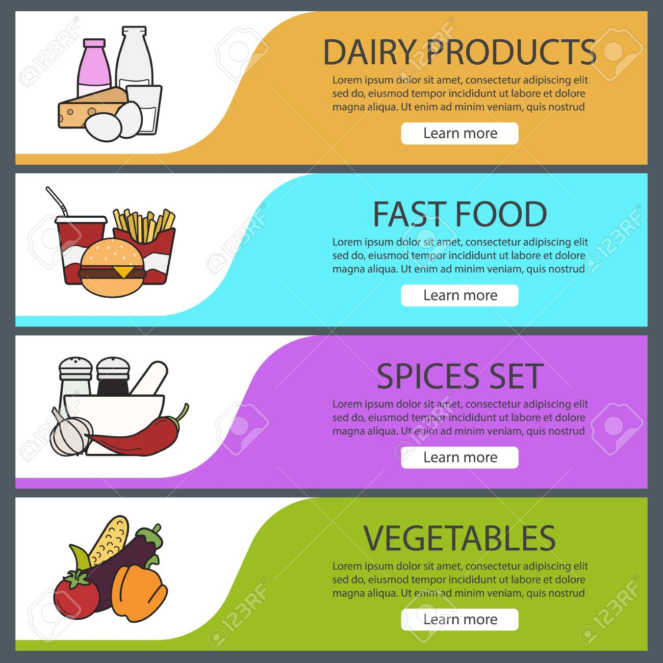 8261a86db1 Products Categories Banner Templates Set. Easy To Edit. Fastfood ...