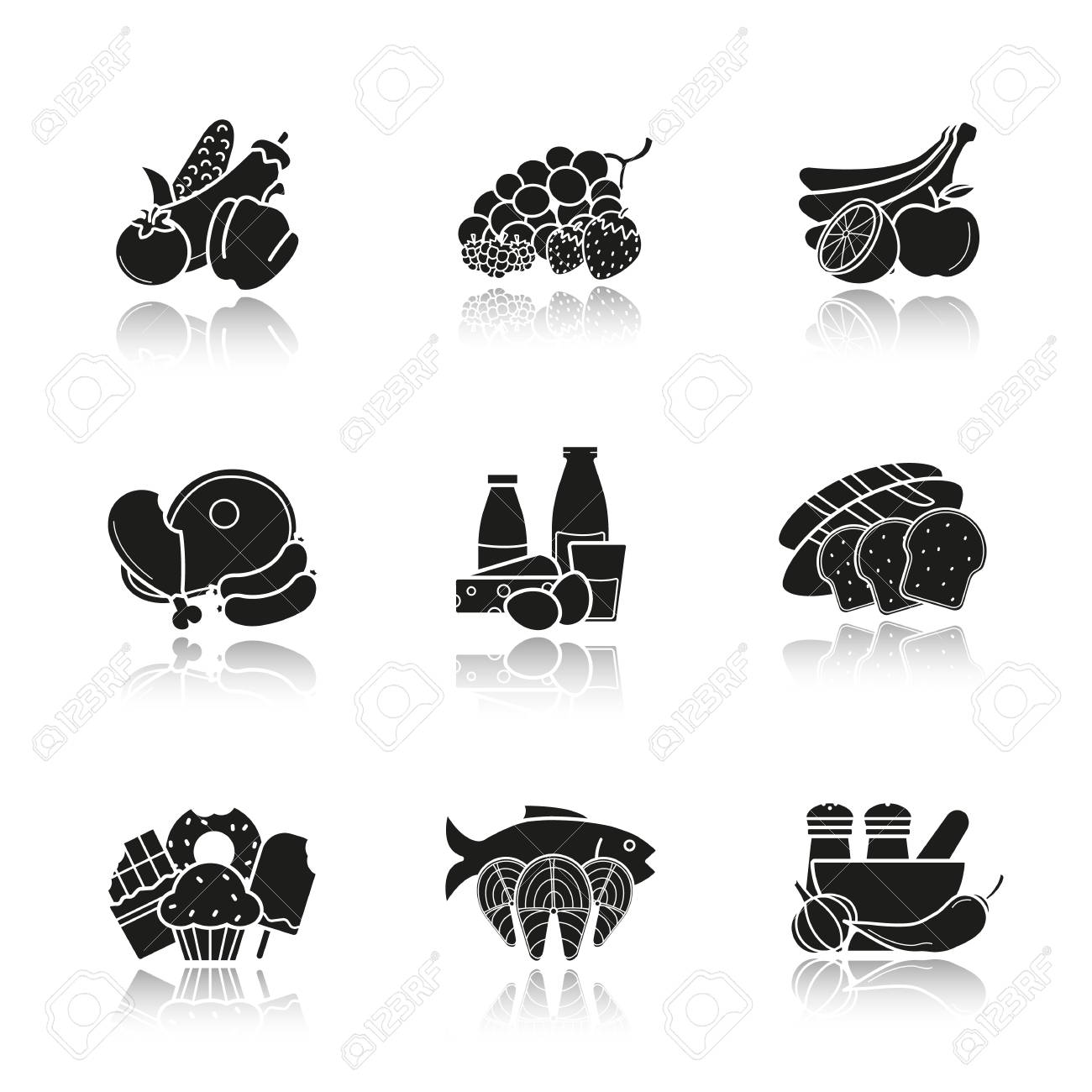 grocery store products categories drop shadow black icons set
