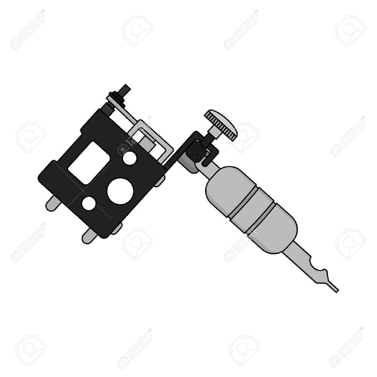 Tattoo Machine. Isolated Color Vector Illustration. Tattoo Gun ...