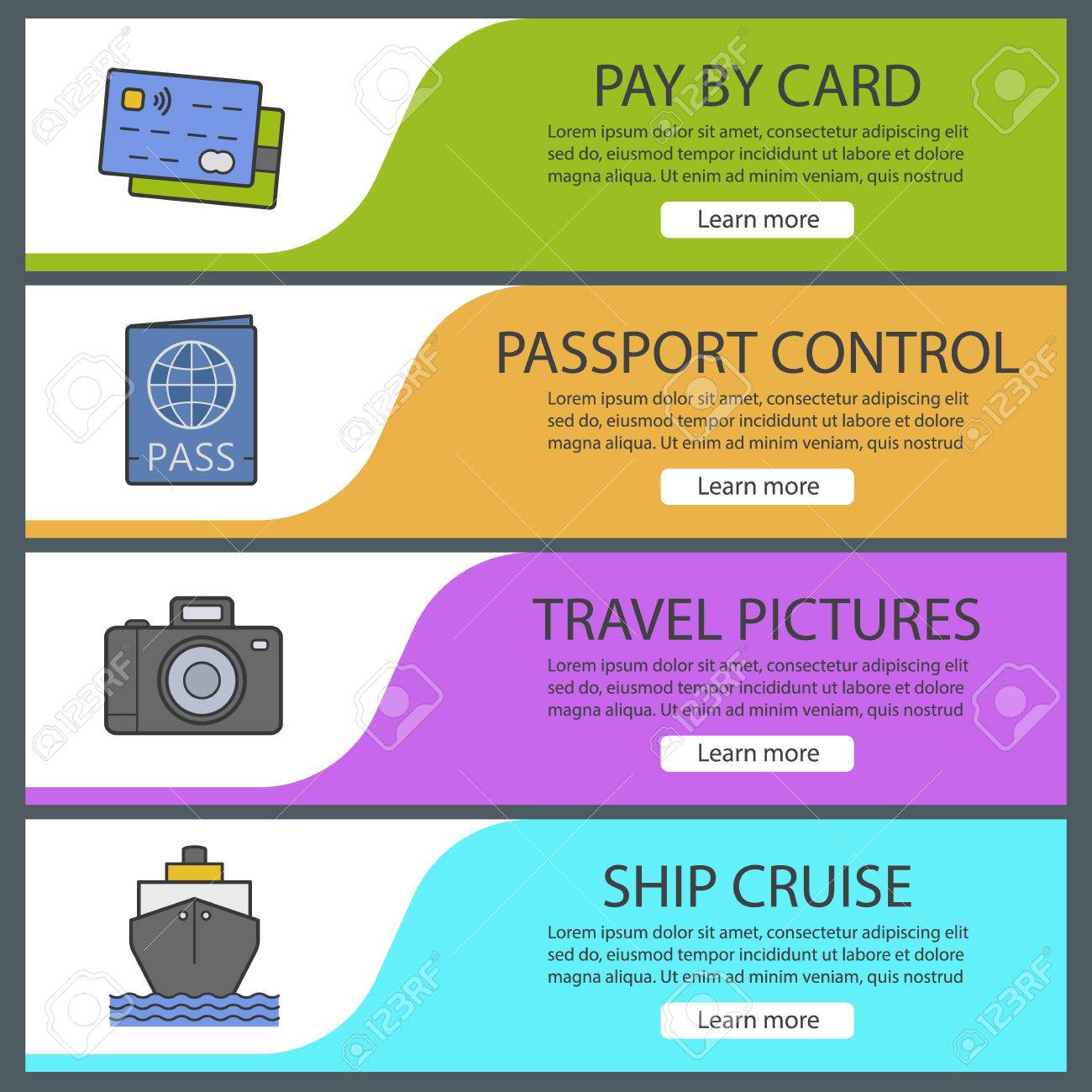 Travel Banner Templates Set Easy To Edit Credit Cards Passport - Website menu design templates