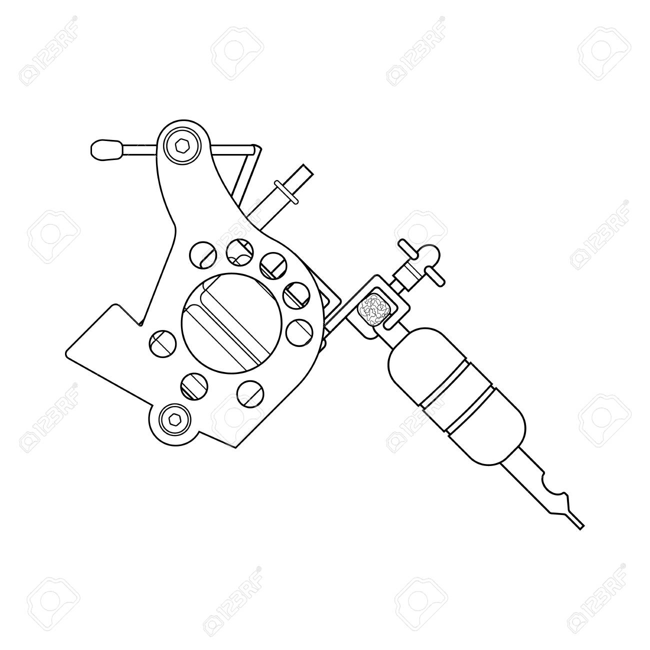 Dessin Lineaire De Machine A Tatouer Illustration De La Ligne Mince Symbole De Contour De Pistolet De Tatouage Dessin De Contour Isole Vector Clip Art Libres De Droits Vecteurs Et Illustration