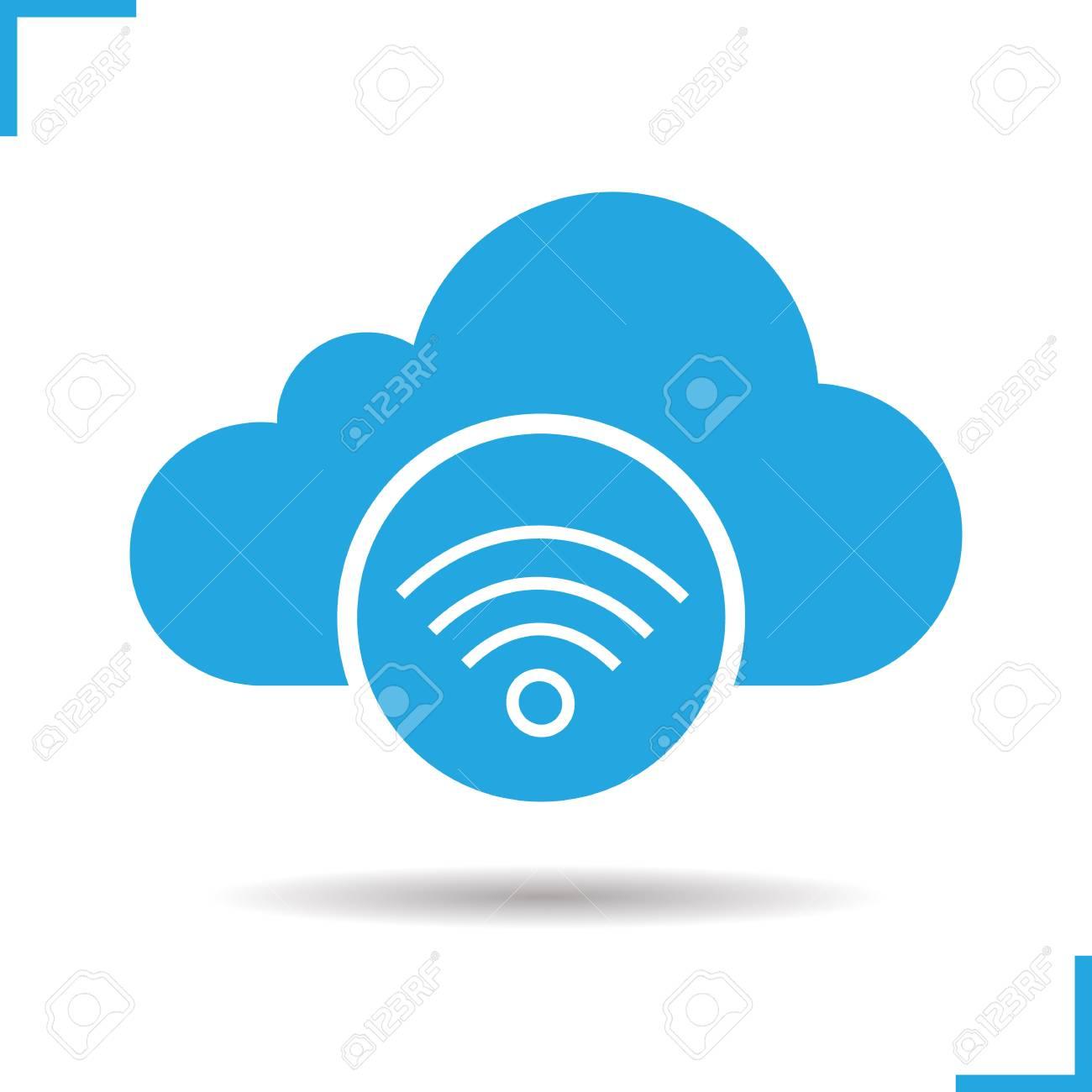 cloud computing wifi connection icon drop shadow silhouette rh 123rf com
