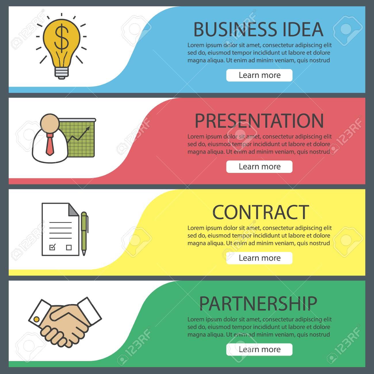 Business-Banner-Vorlagen Festgelegt. Einfach Zu Bearbeiten ...
