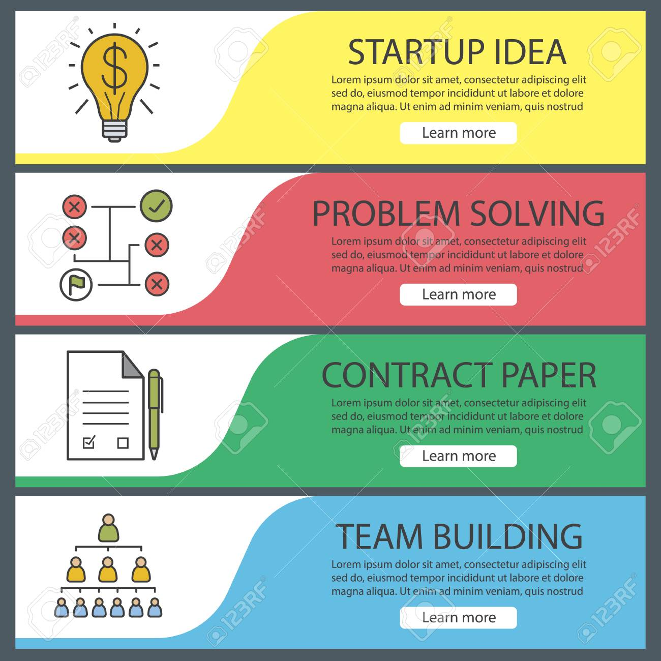 business banner templates set easy to edit problem solving
