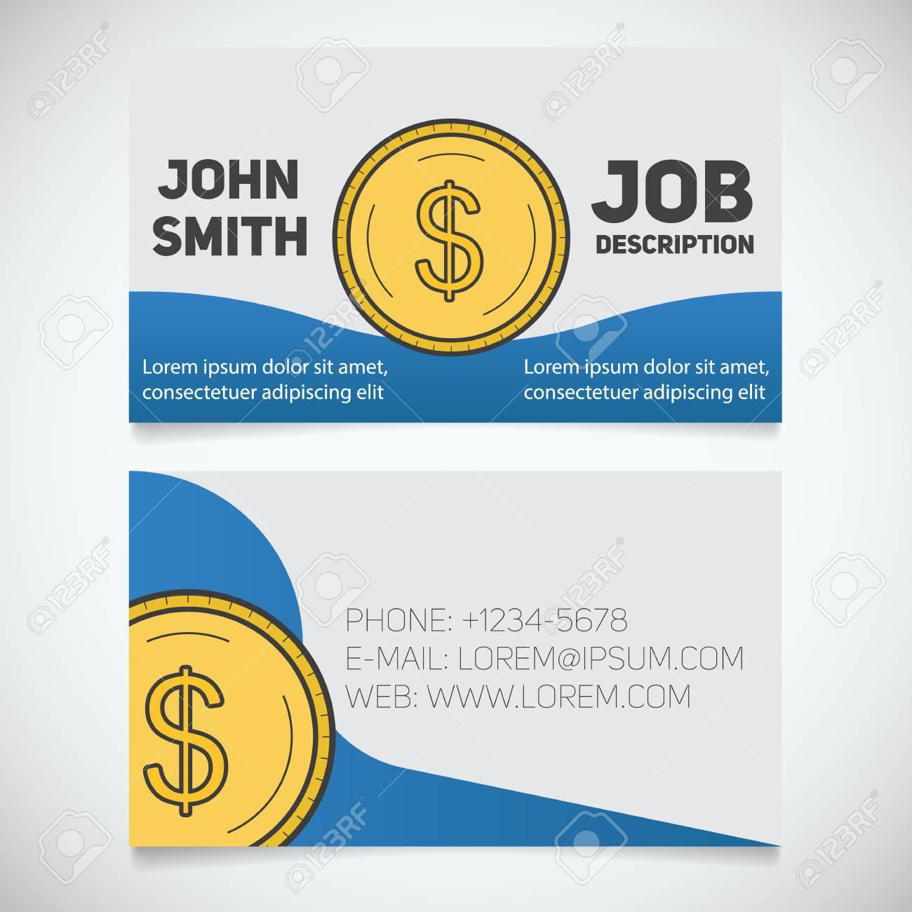 Modele Dimpression De Cartes Visite Avec Le Logo Monnaie En