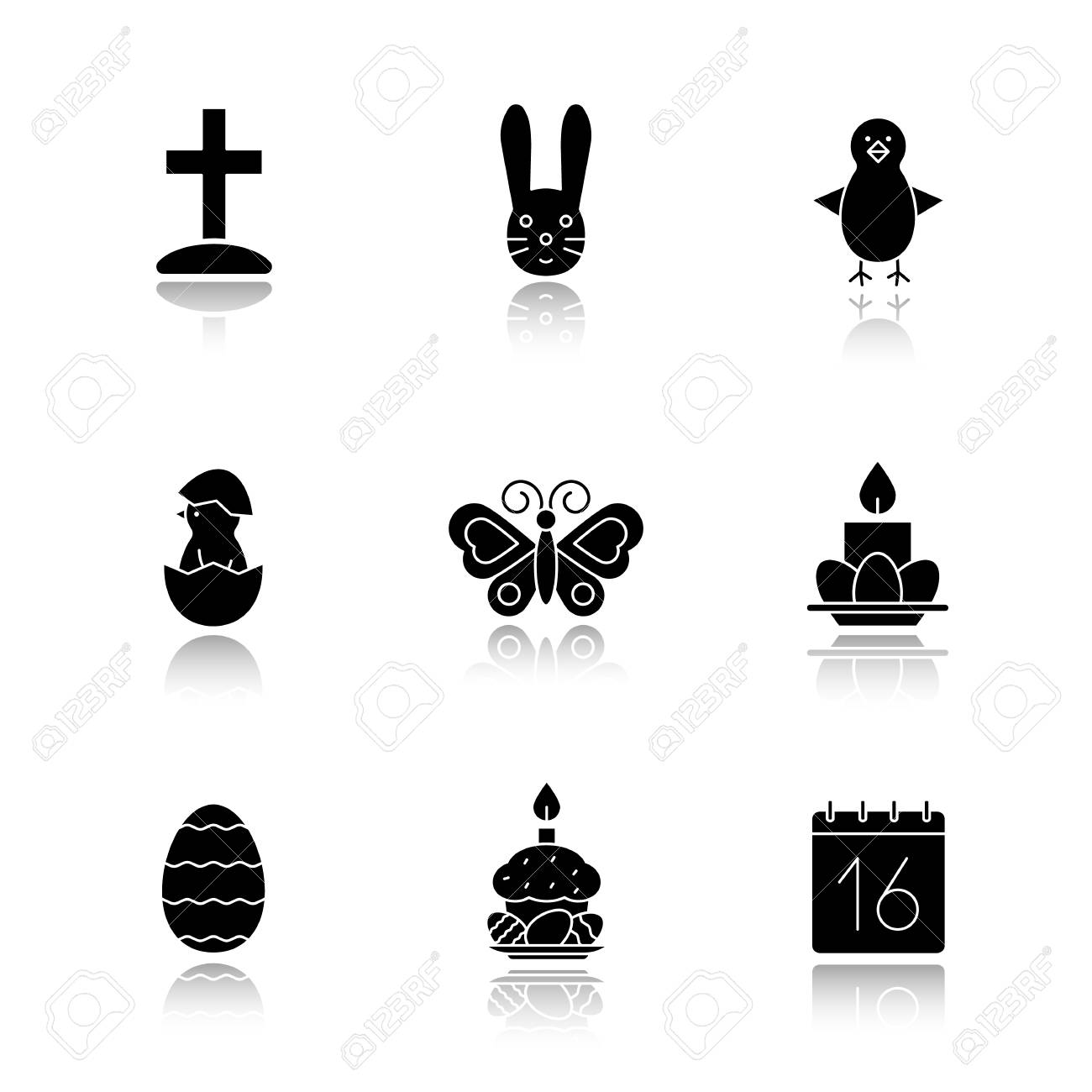 Captivating Easter Drop Shadow Black Icons Set. Cross On Hill, Newborn Chicken In Egg  Shell Idea