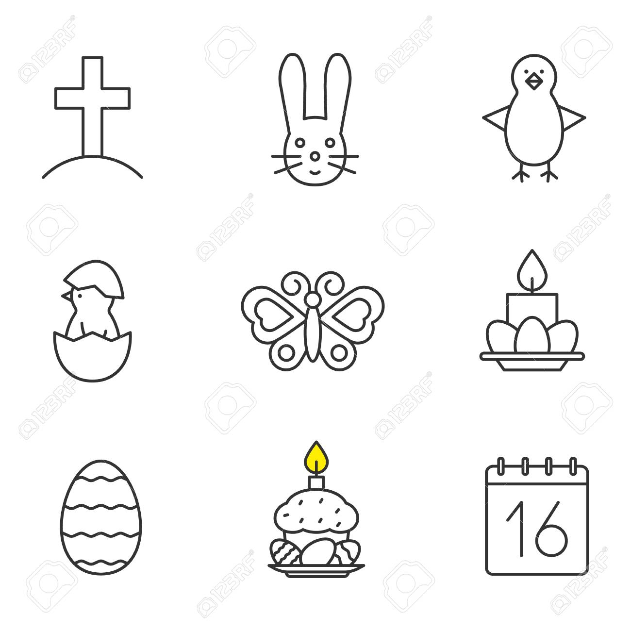 Delightful Easter Linear Icons Set. Cross On Hill, Newborn Chicken In Egg Shell, Easter Good Looking