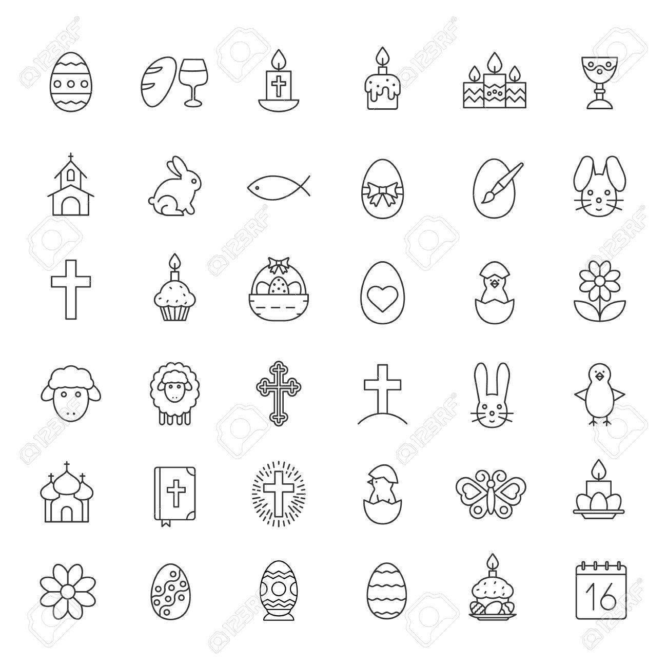 Amazing Easter Linear Icons Set. Easter Bunny, Eggs, Cake, Cross, Lamb, Nice Look