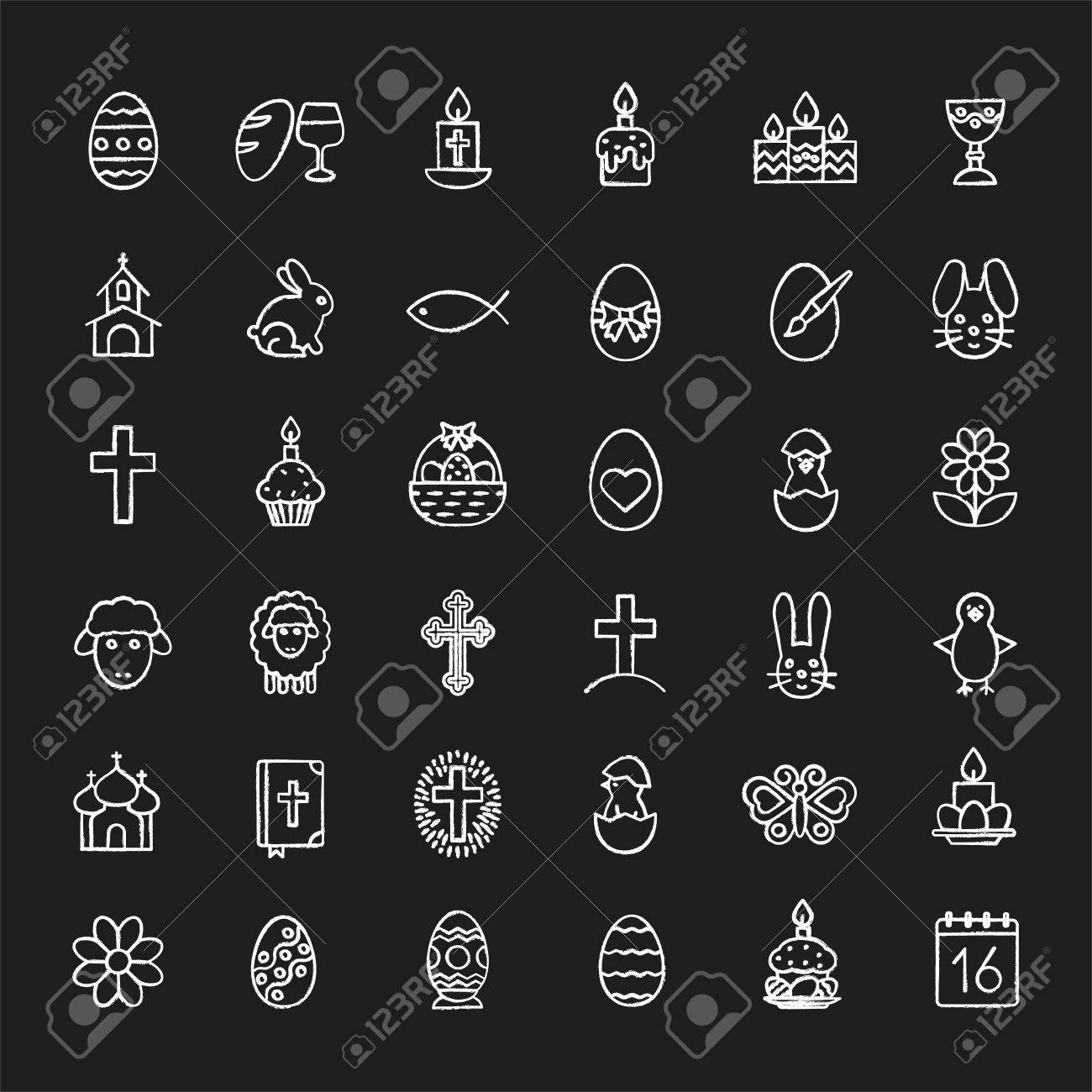 Nice Easter Chalk Icons Set. Easter Bunny, Eggs, Cake, Cross, Lamb, Design Ideas