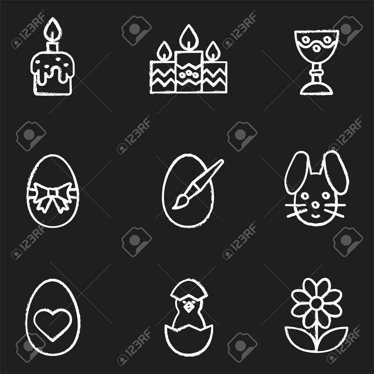 Easter Chalk Icons Set. Candles, Goblet, Newborn Chicken In Egg Shell,  Flower Nice Ideas