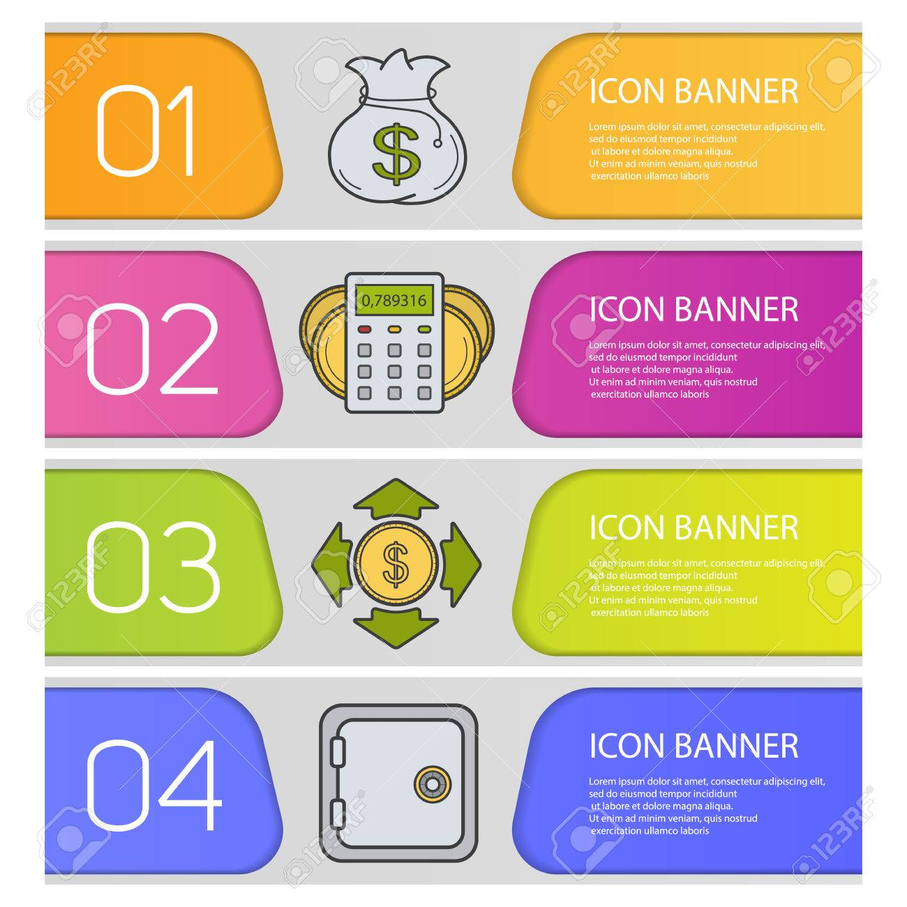 Banking And Finance Banner Templates Set. Easy To Edit. Money ...