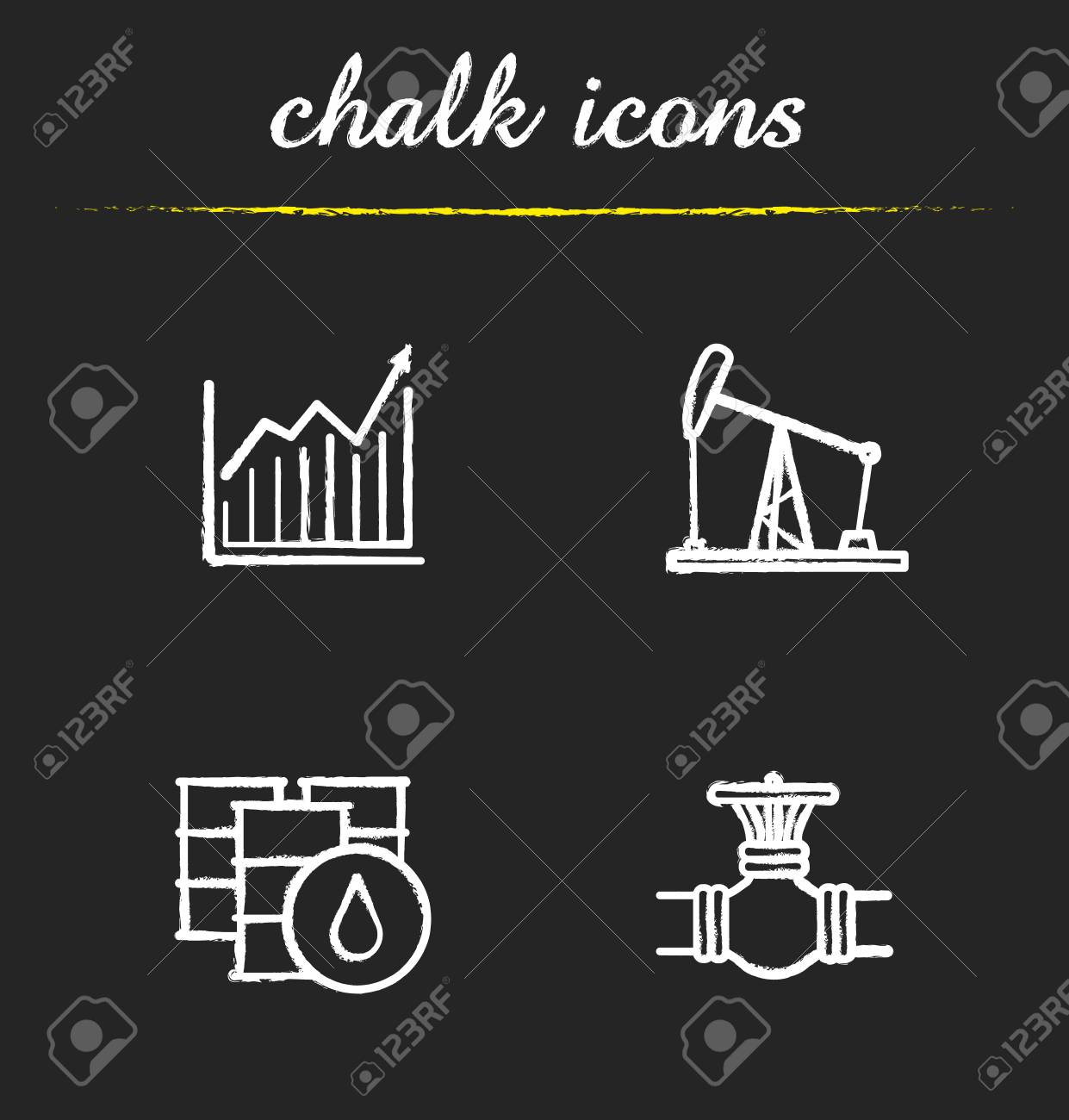 Oil Industry Chalk Icons Set. Price Growth Diagram, Oil Rig And ...