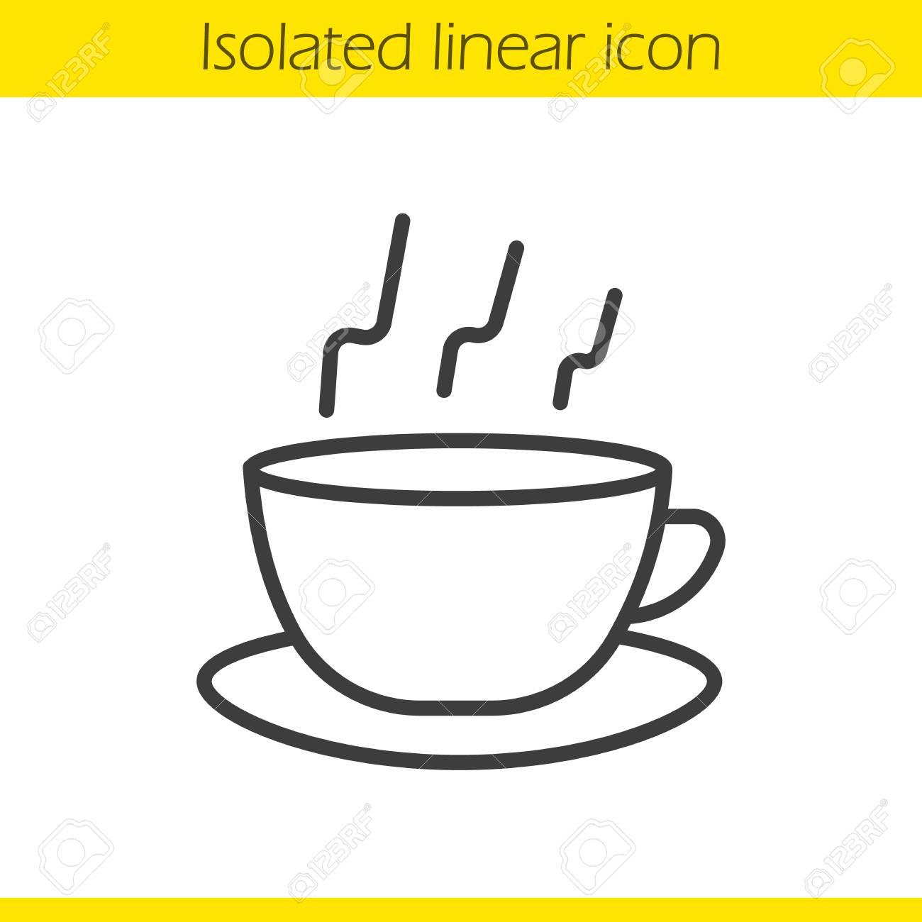 Dessin Tasse De Café Fumant icône linéaire de cuisson à la vapeur. tasse à thé illustration fine