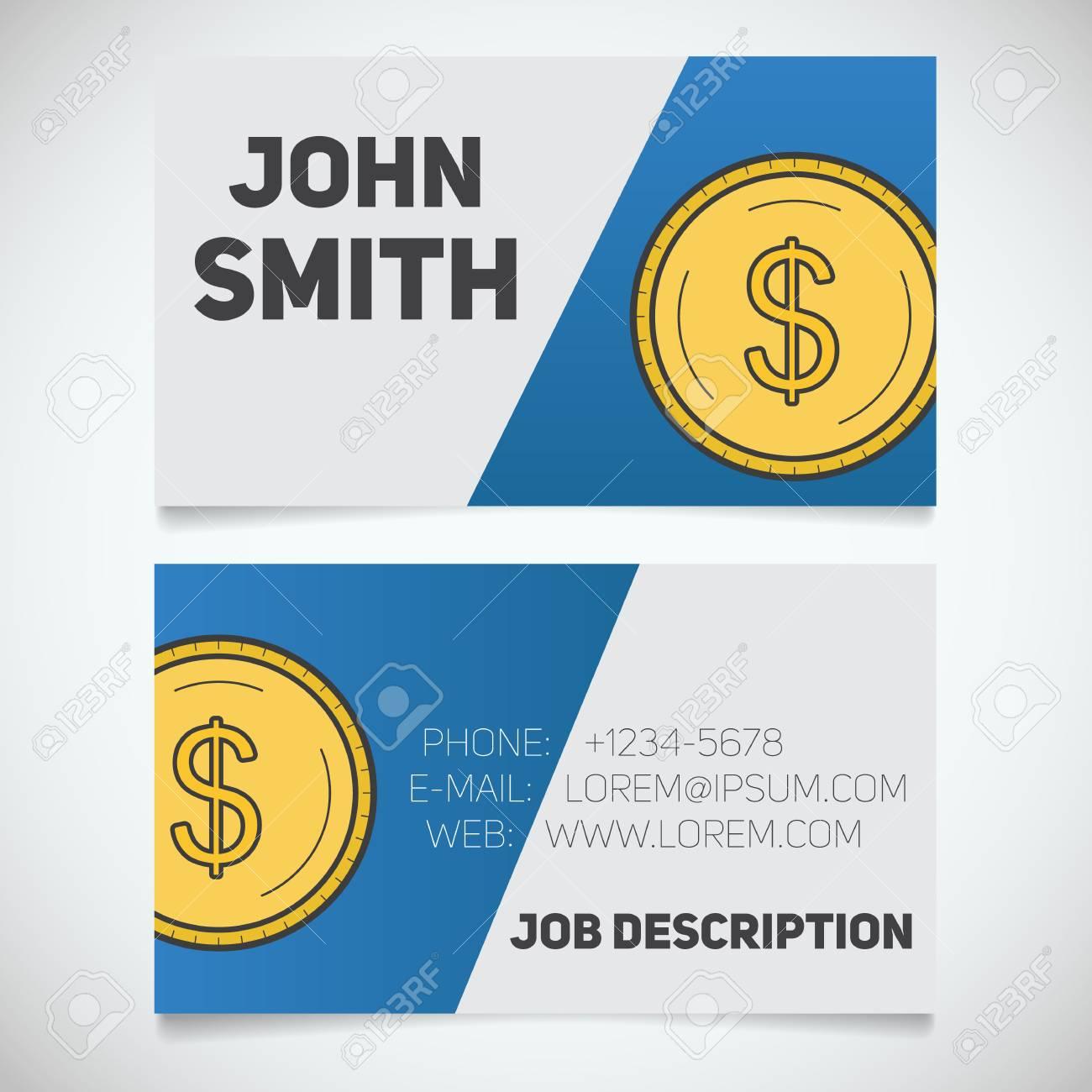 Modle Dimpression De Cartes Visite Avec Le Logo Monnaie En