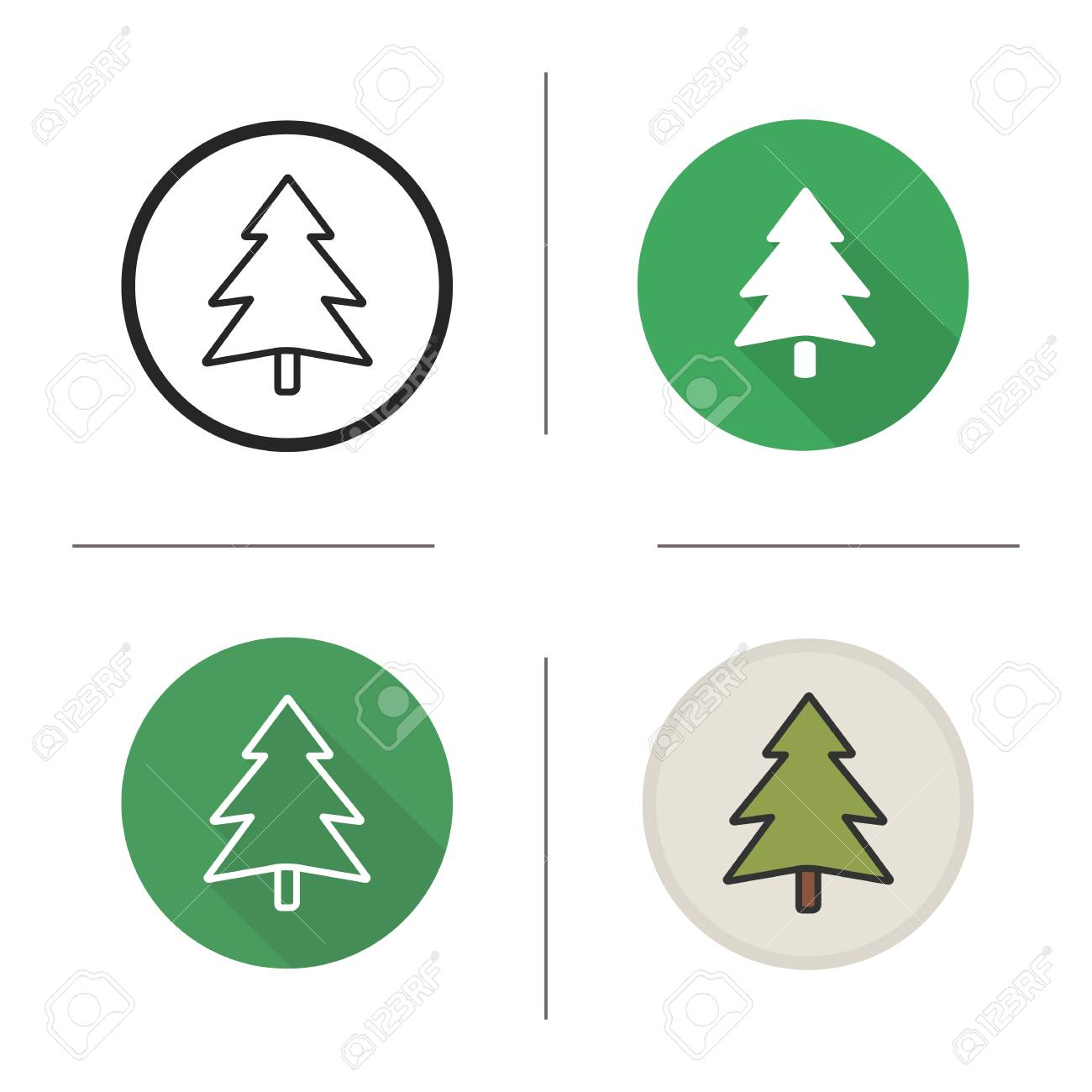 New Year And Christmas Tree Icon. Flat Design, Linear And Color ...