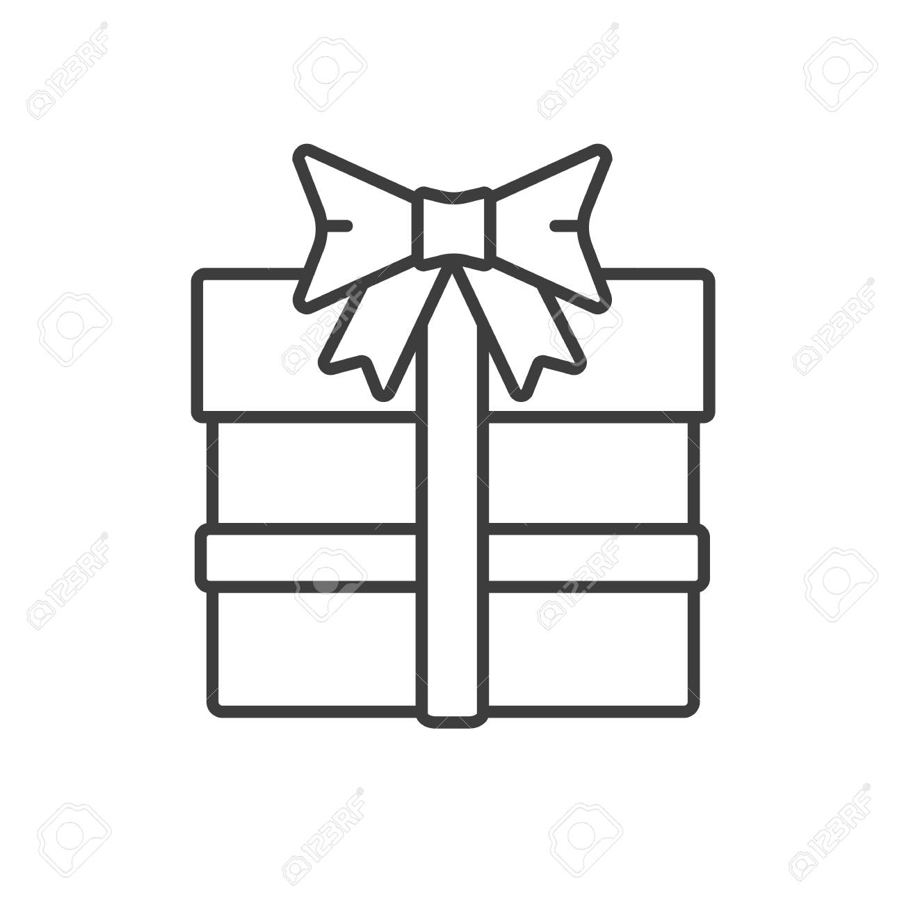 Christmas Gift Box Drawing.Gift Box With Ribbon Linear Icon Thin Line Illustration New