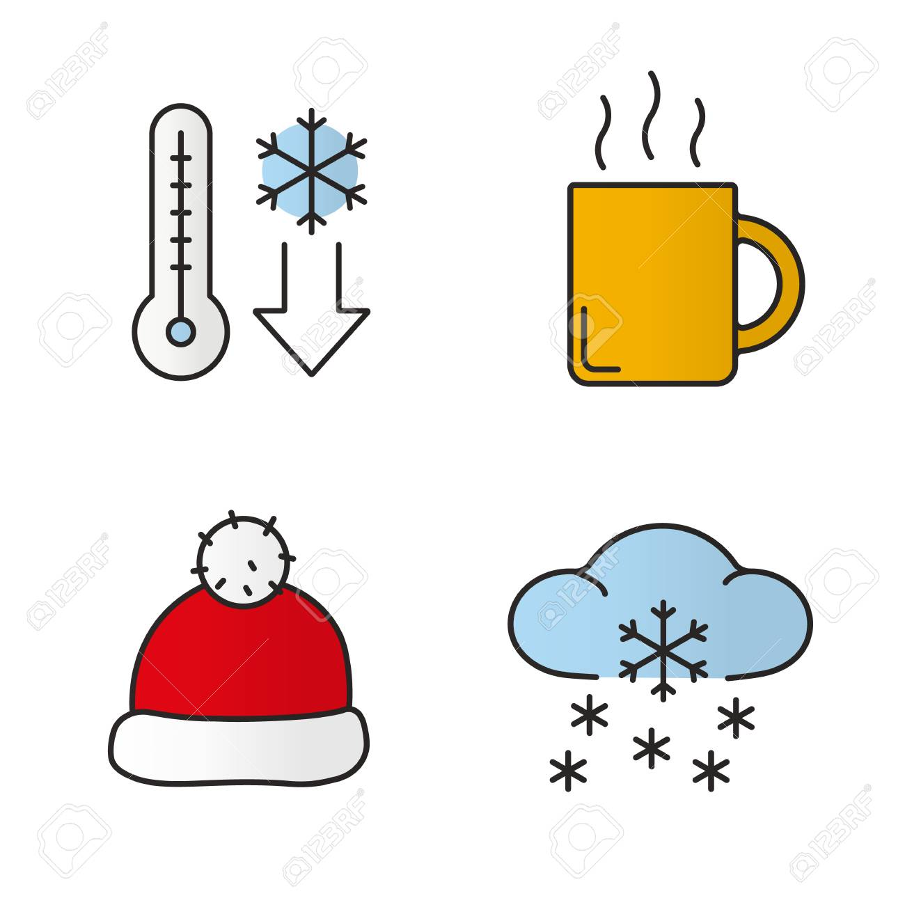 winter season color icons set temperature falling hot steaming rh 123rf com free animated snow falling clipart snow falling clipart free