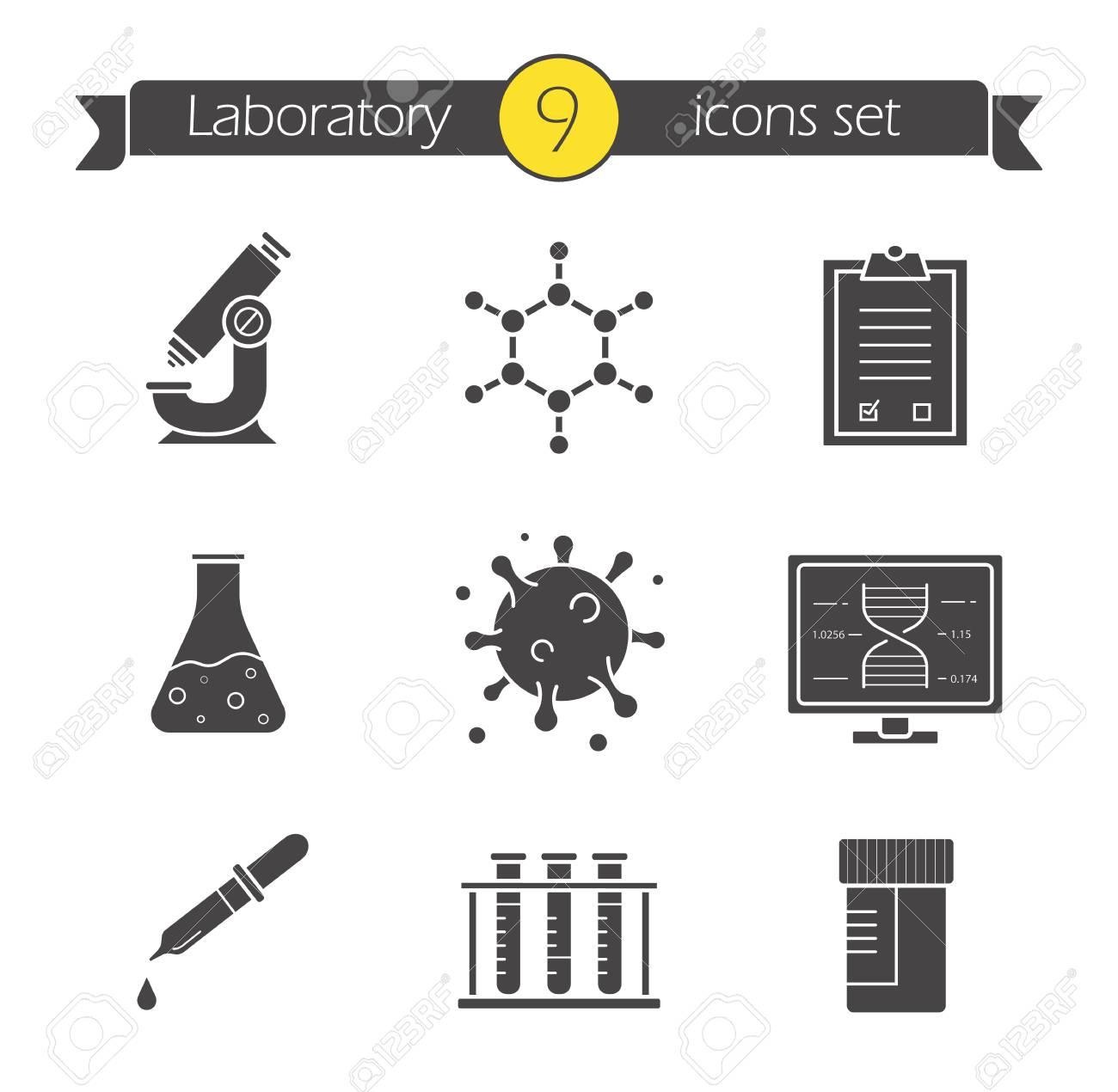 Conjunto De Iconos De Laboratorio De Ciencia Símbolos De Silueta Microscopio Estructura Molecular Lista De Comprobación De Pruebas Vaso De