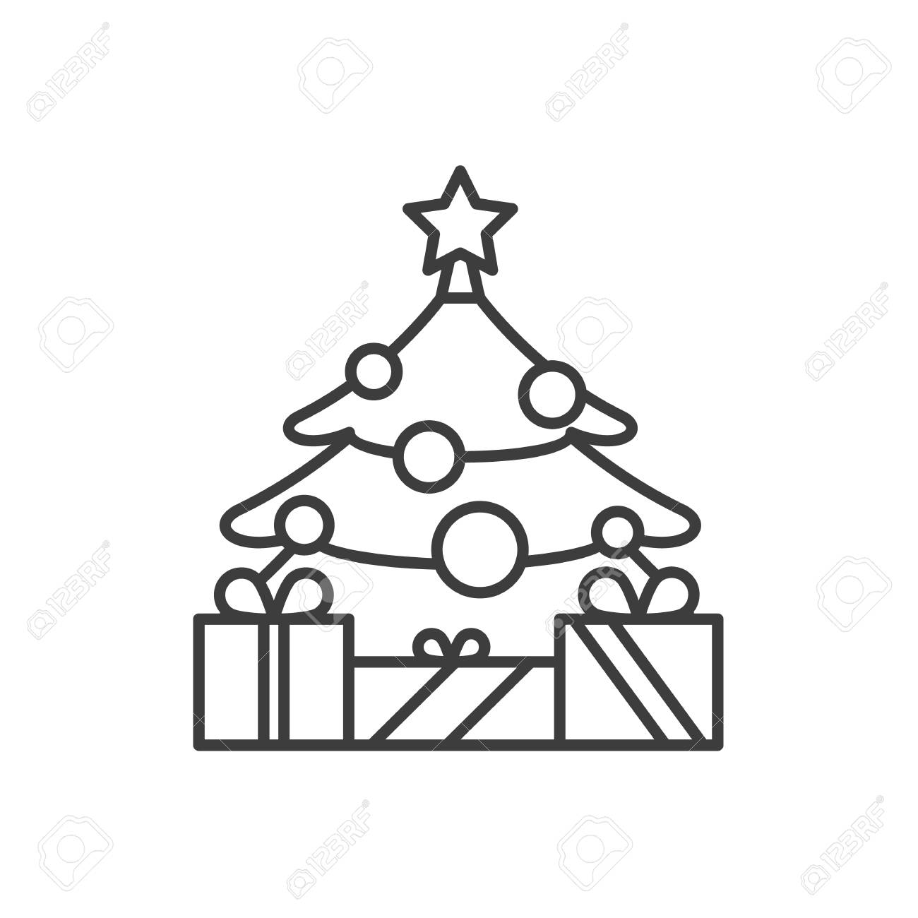 New Year Tree With Star And Gifts Linear Icon Thin Line