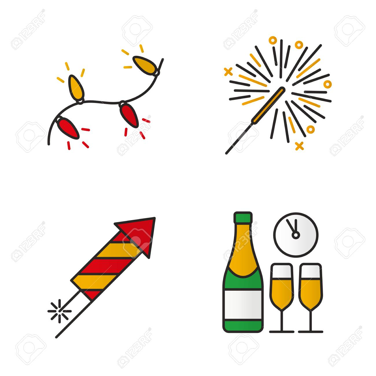 champagne bottle and glasses isolated vector illustrations christmas color icons set new years eve christmas tree garland rocket firework