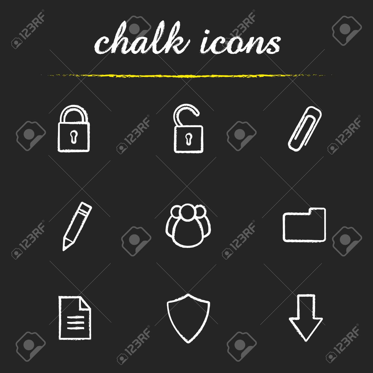 Digital chalk icons set  Cyber security  Access granted and denied,