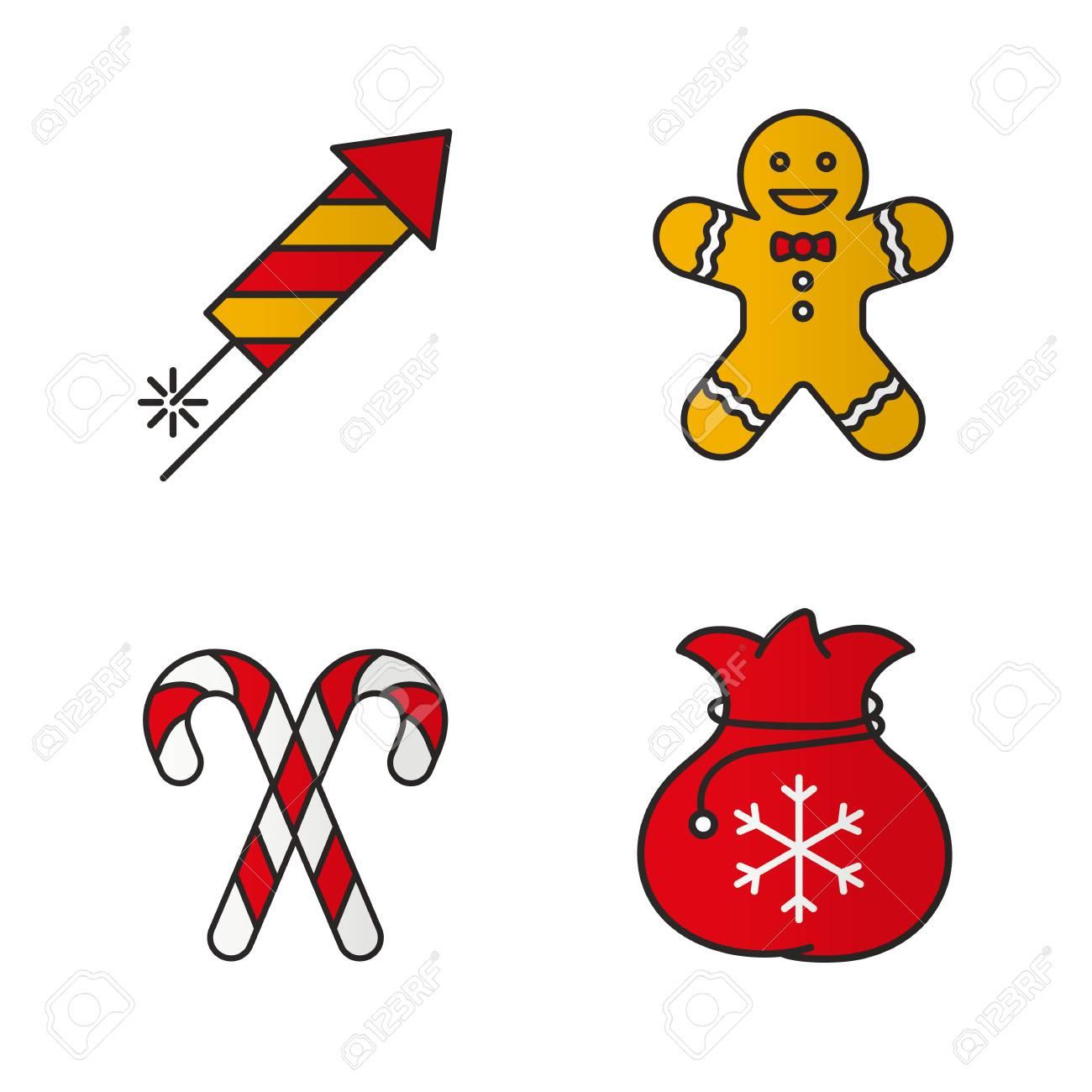 Conjunto De Iconos De Navidad Y Año Nuevo Color. Rocket Fuegos ...