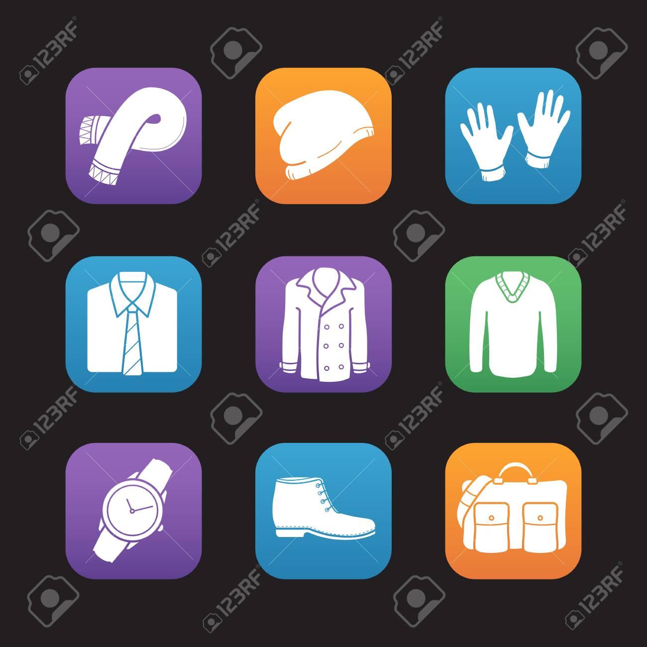 bc1f5eb7 Conjunto de iconos de diseño plano de moda de los hombres. Ropa y  accesorios. Bufanda, gorro de invierno, guantes, camisa y corbata, abrigo,  suéter, ...