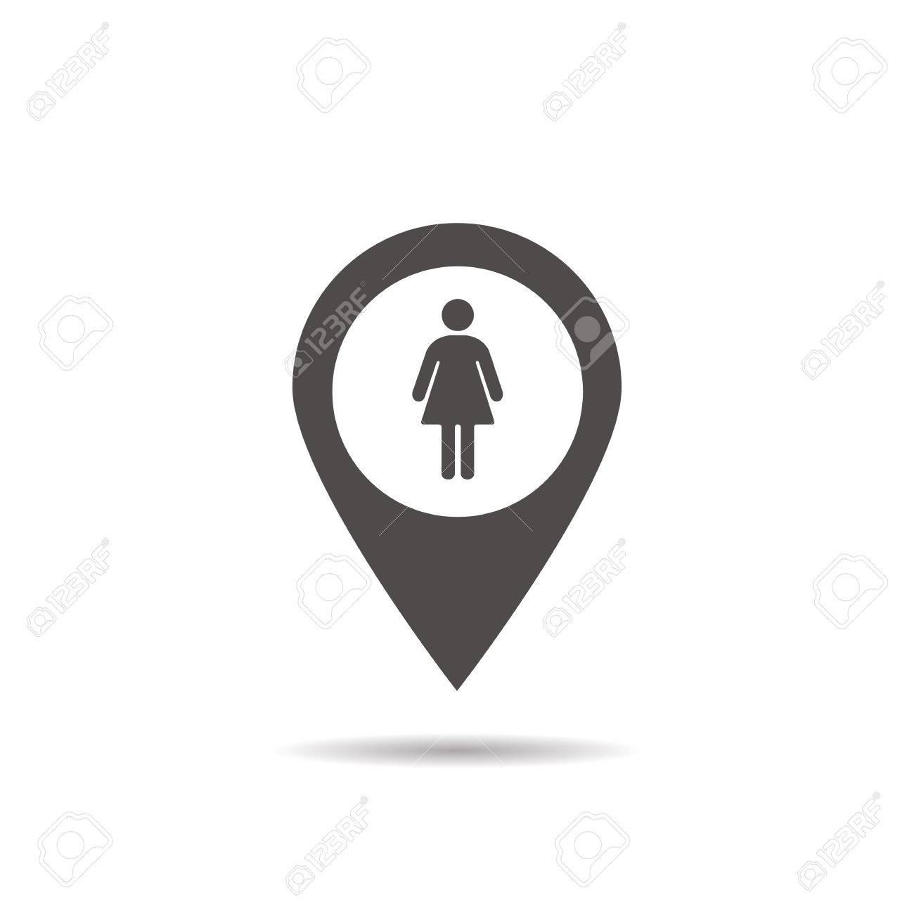 Icône De Localisation Des Femmes Wc Symbole De Silhouette De