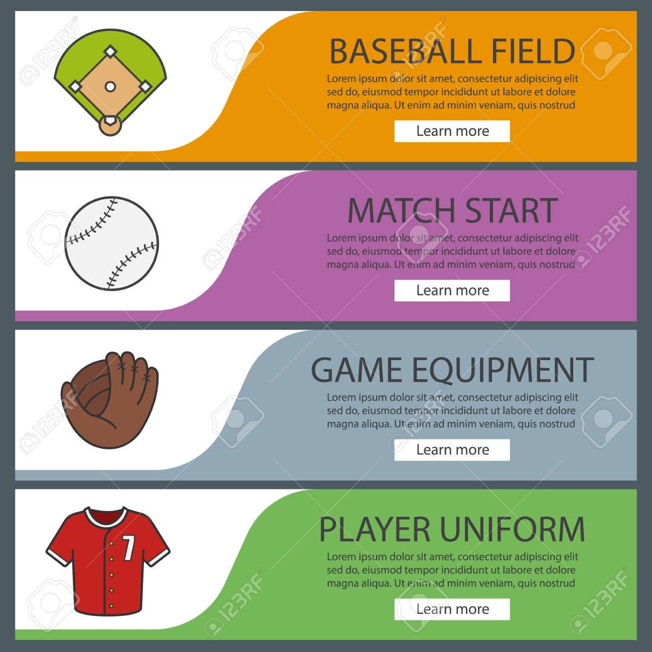 Baseball Banner Templates Set Easy To Edit Softball Field - Website menu design templates
