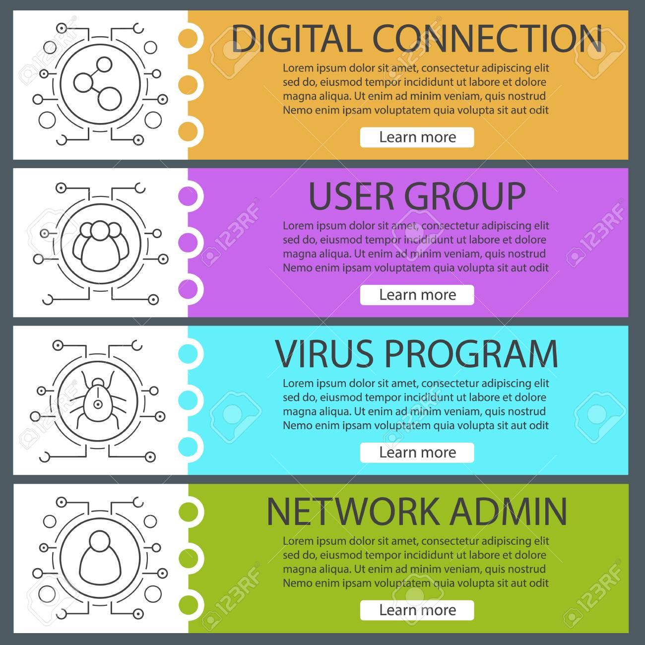 Conjunto De Plantillas De Banner Digital. Tecnología Cibernética ...