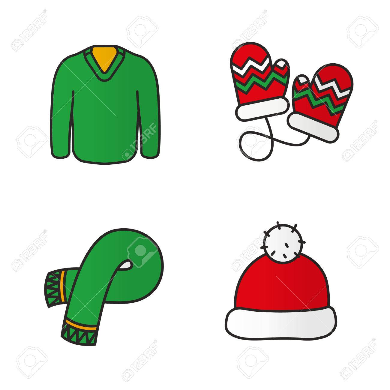 New Year Clothes Color Icons Set. Warm Winter Accessories. Green ...