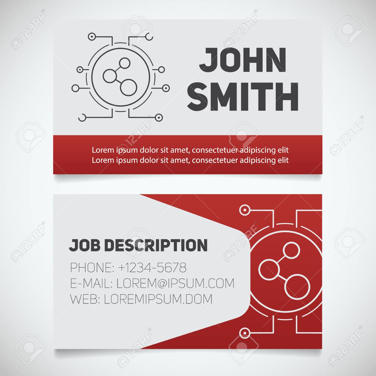 Business Card Print Template With Connection Logo Easy Edit - Business card print template