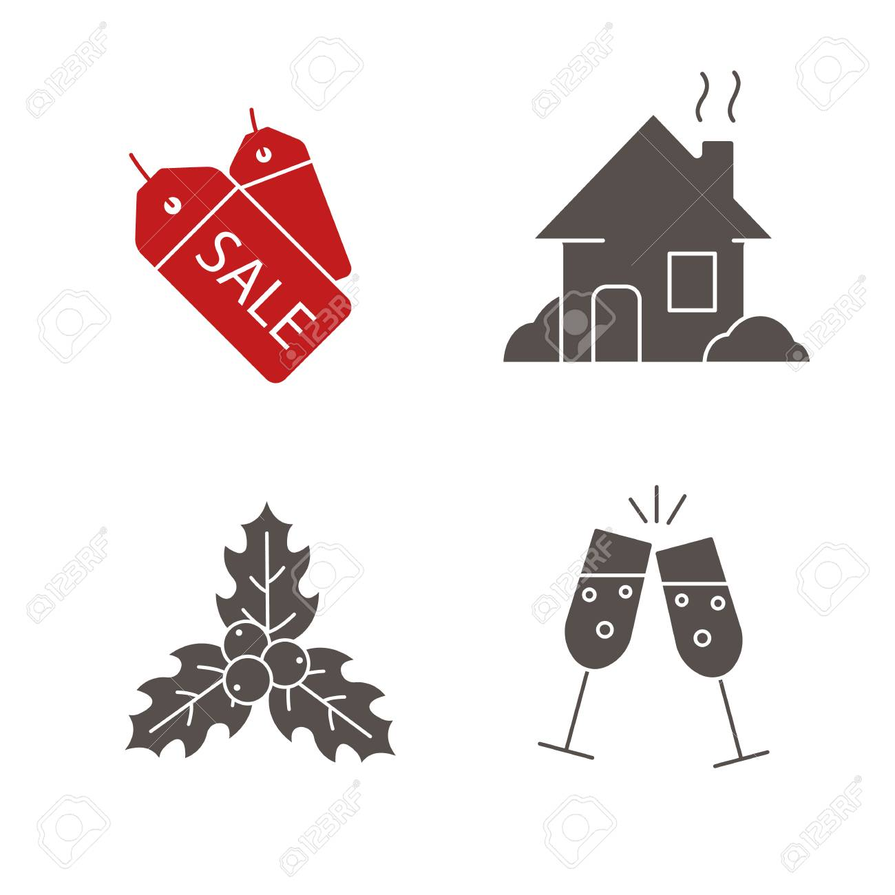 Christmas icons set new year silhouette symbols sale tags christmas icons set new year silhouette symbols sale tags house mistletoe buycottarizona Image collections