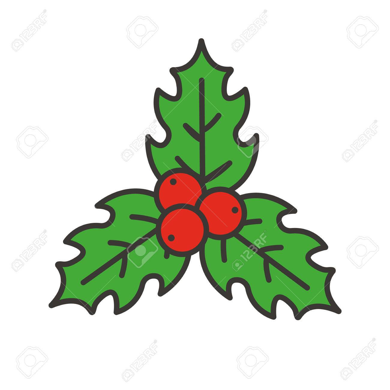 Christmas Mistletoe Color Icon. Holly Berries. Isolated Vector ...