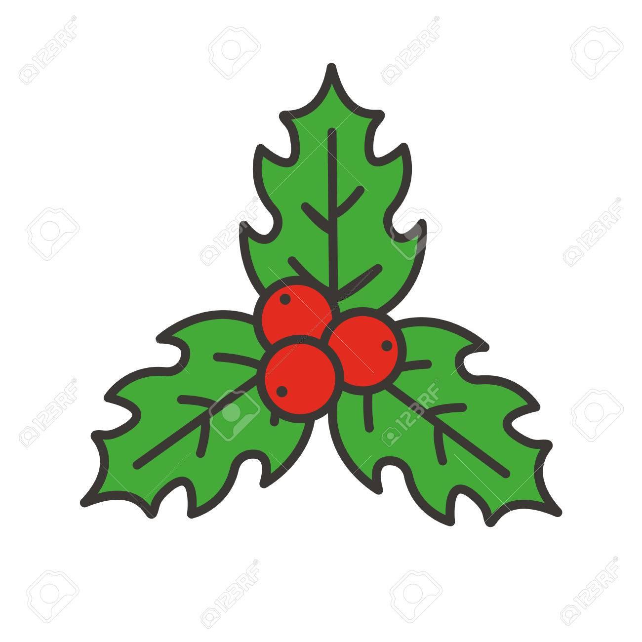 Icône De Couleur De Gui De Noël Baies De Houx Illustration Vectorielle Isolé