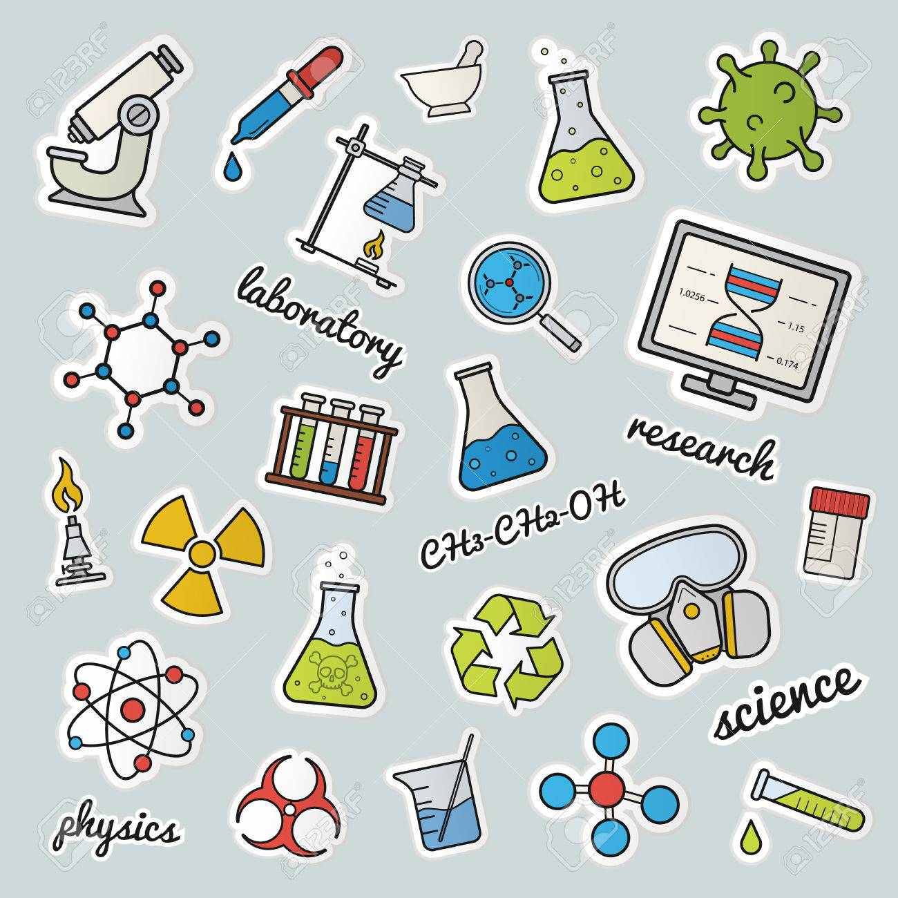 chemical lab patches science color stickers pins and badges