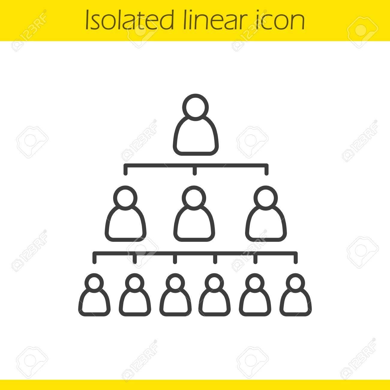 Icono Lineal Del Concepto De Jerarquía De La Empresa Ilustración De Línea Delgada De Liderazgo Símbolo De Contorno De La Estructura Organizacional