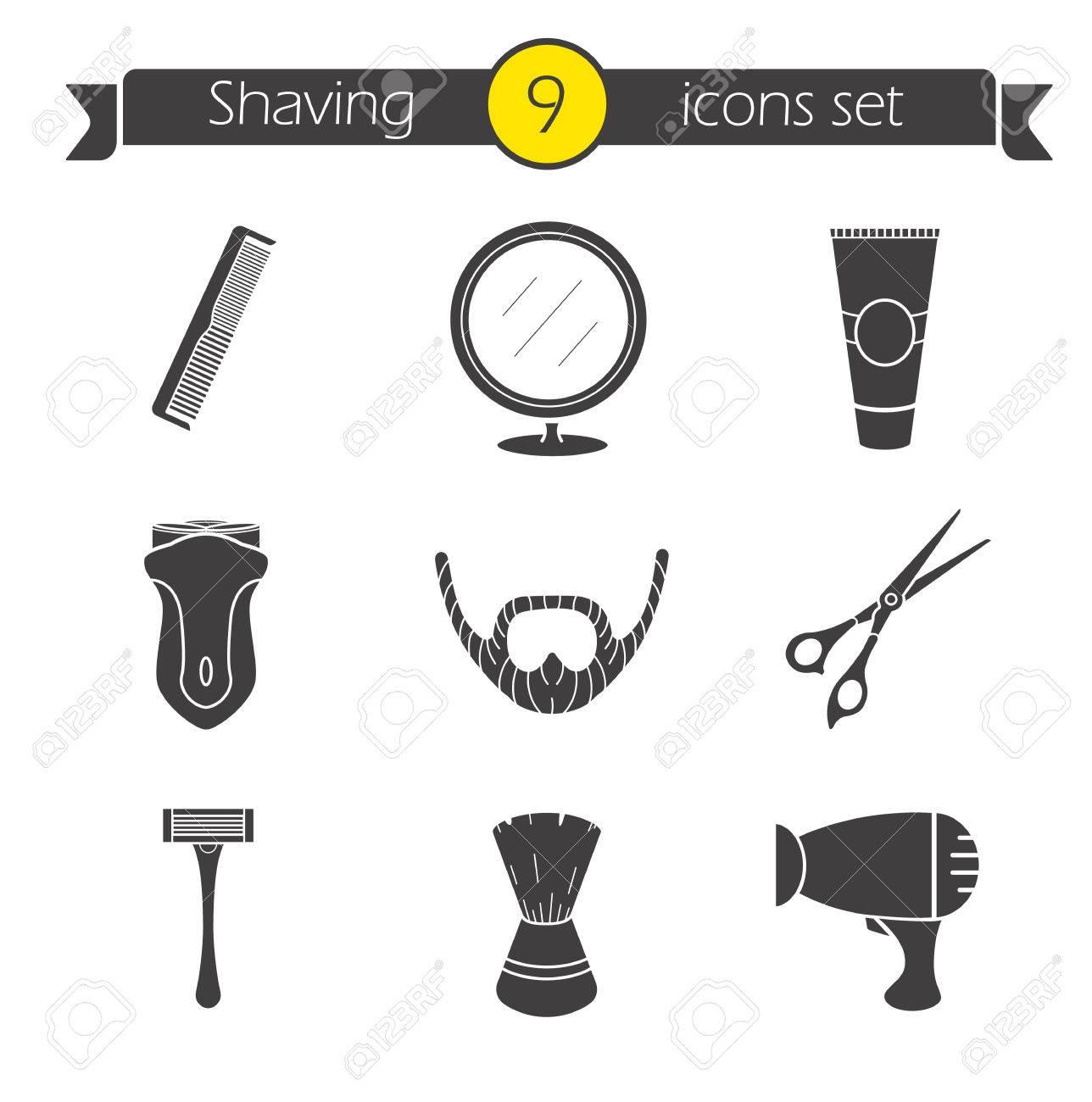 Conjunto de iconos de afeitar. Peluquería silueta símbolos. Afeitadora  eléctrica 8ebd54150060
