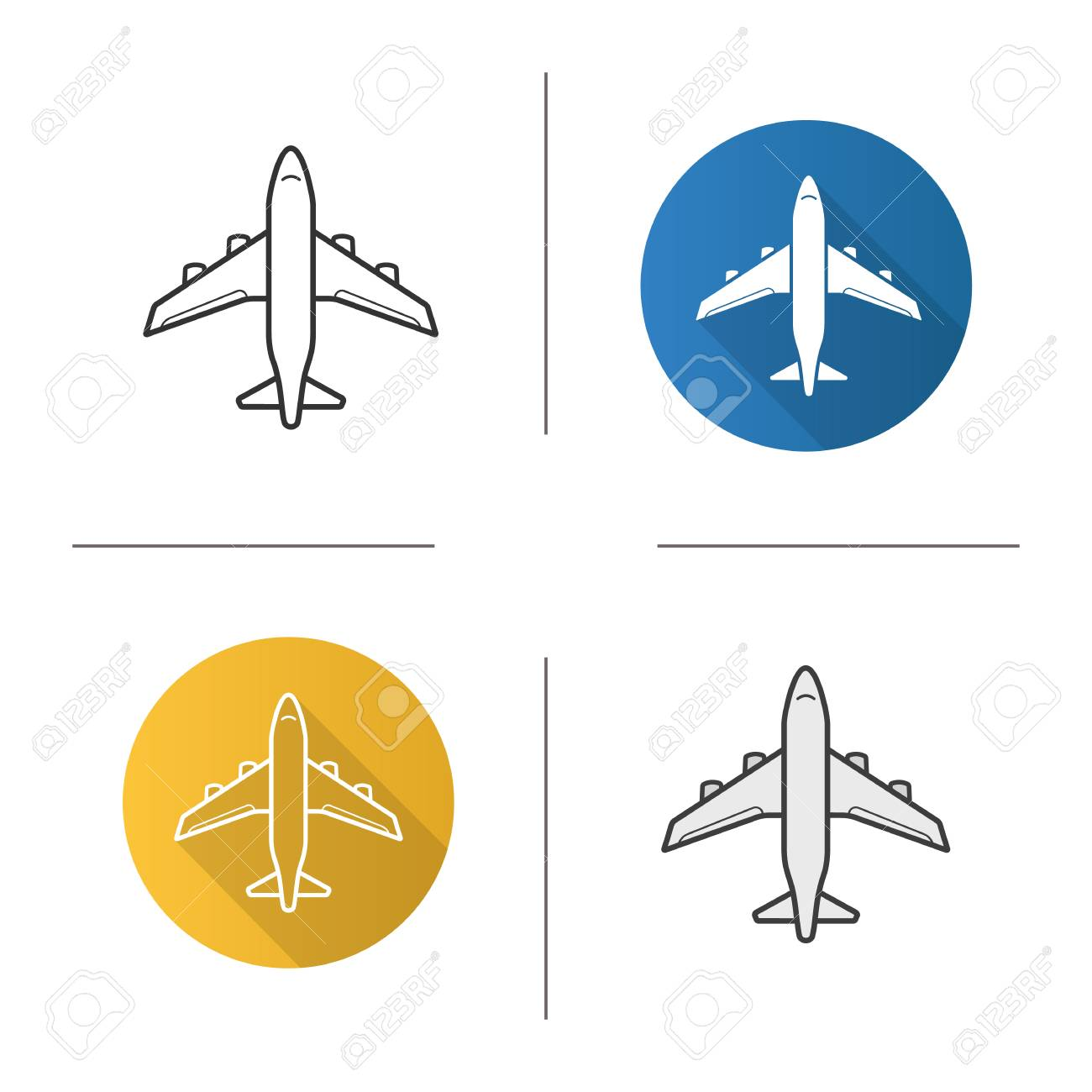 Icono De Avión Diseño Plano, Estilos Lineales Y De Color. Vuelo En ...