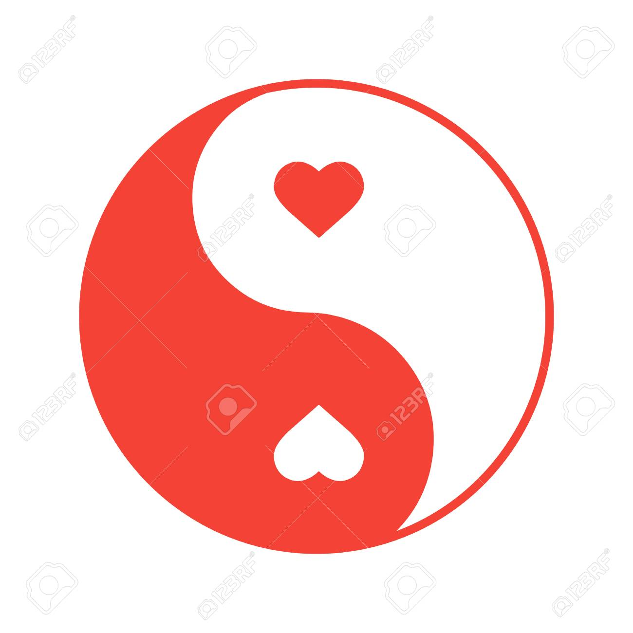 Yin Yang With Hearts Color Icon. Isolated Vector Illustration ...
