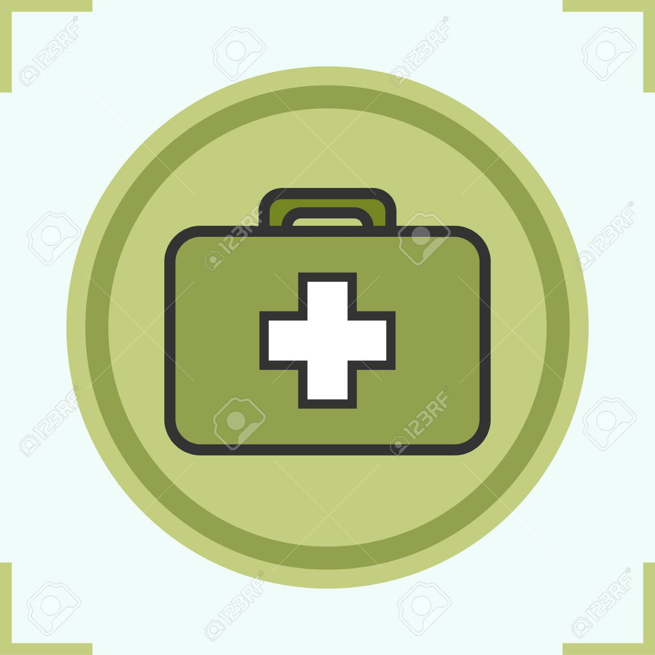 Military first aid kit color icon  Medicine chest  Isolated vector