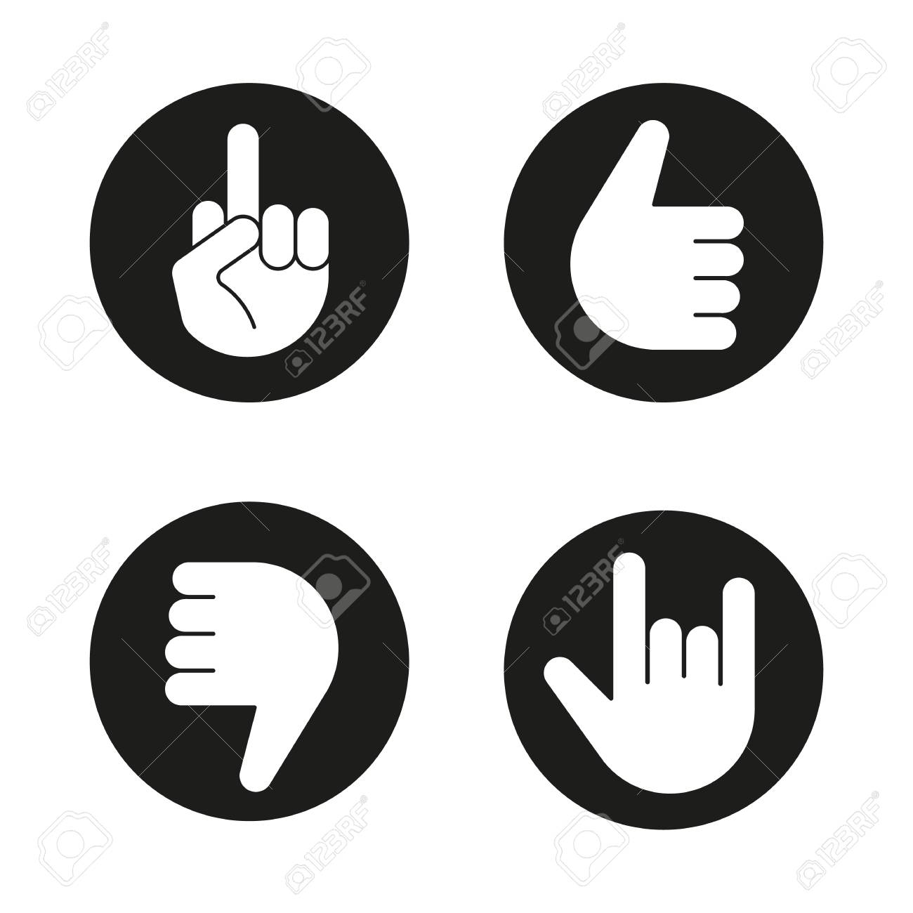 hand gestures icons set thumbs up dislike heavy metal middle